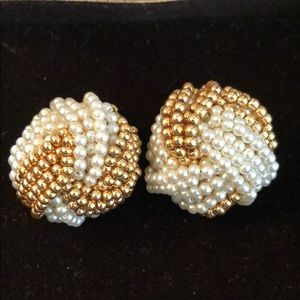 Gold and pearl beaded clip on earrings